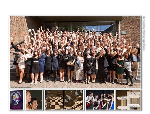 Collage zu den Abitur-Feierlichkeiten der Marienschule in Münster, Zeugnisübergabe und Ball
