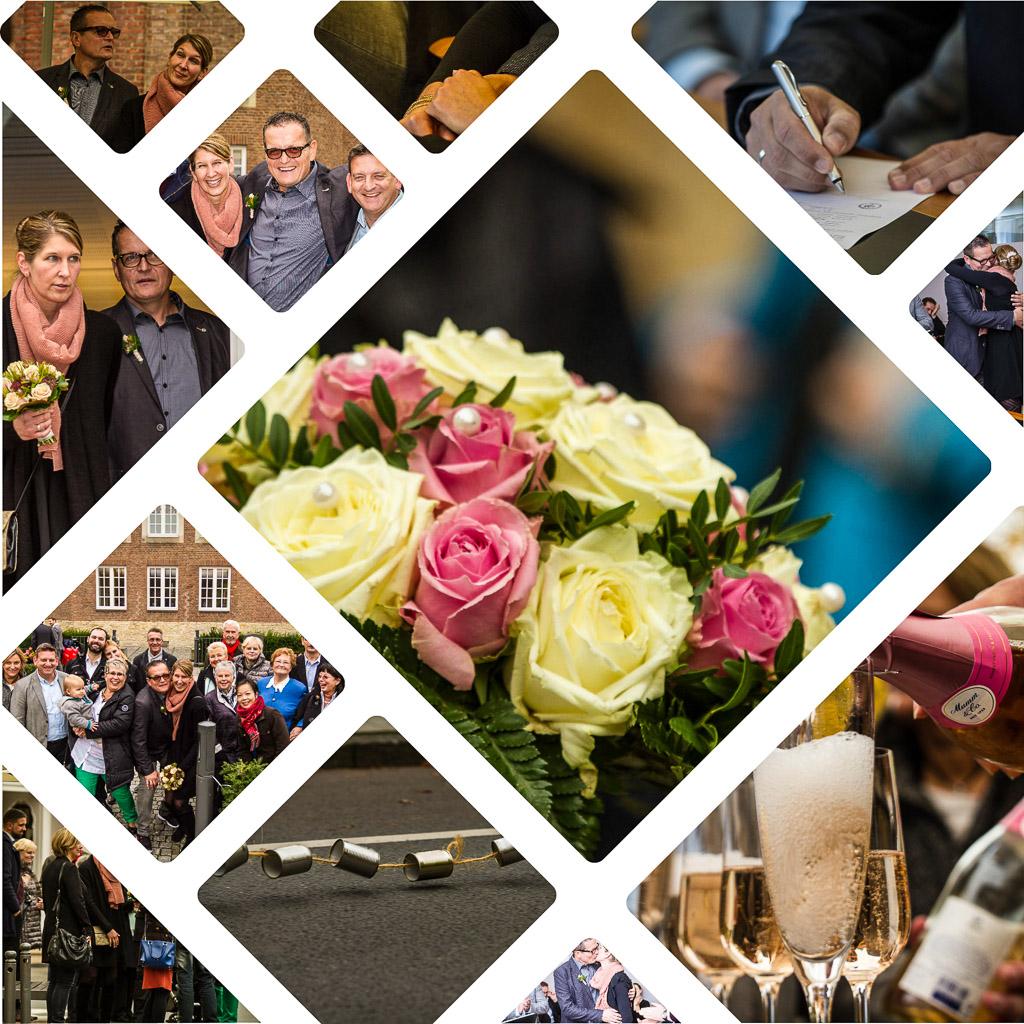 Collage mit Hochzeitsfotos aus Münster. Foto: A. Hasenkamp, Fotograf in Münster.