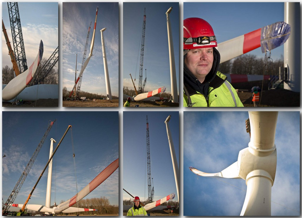 Foto-Reportage vom Aufbau einer Windenergie-Anlage in Münster mit Portraitfotos und Gesamtsicht. Foto: A. Hasenkamp, Fotograf in Münster.